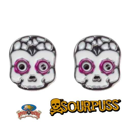 Sourpuss introduces a pair dainty earrings to adorn your lobes! These super sweet Sugar Skull earrings are must for any gal's collection.