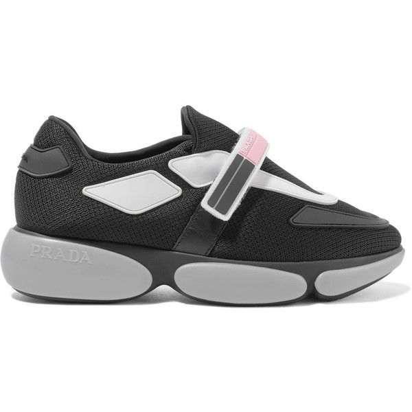 Prada Cloudbust rubber and leather-trimmed mesh sneakers ($710) ❤ liked on Polyvore featuring shoes, sneakers, black, velcro shoes, black shoes, black trainers, monk-strap shoes and velcro strap sneakers