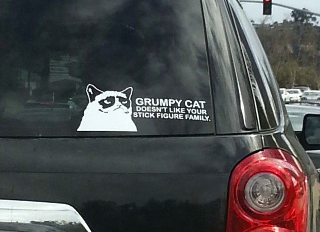 Grumpy cat bumper sticker grumpy cat doesnt like your stick figure family nothing like a picture of grumpy cat on the back of your car or suv