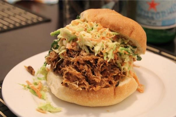 Forty creek whiskey bbq pulled pork (slow cooked 10 hours) with a broccoli slaw made with mayo, yogurt, lemon and maple syrup.
