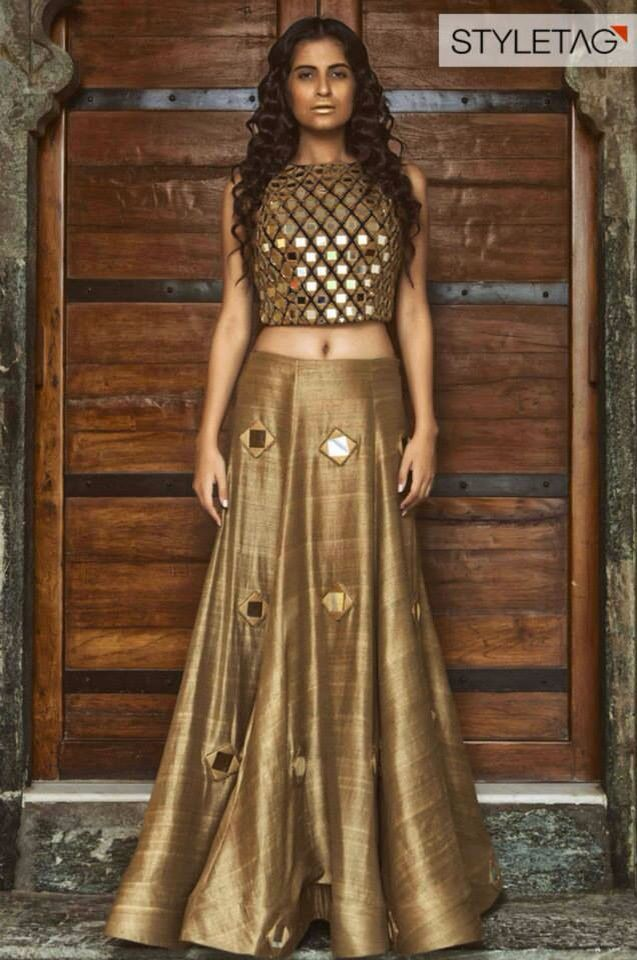 beautiful golden lehenga https://www.facebook.com/nikhaarfashions