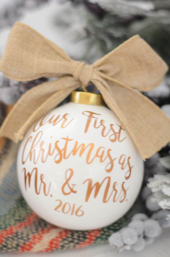 Newlywed Christmas Ornament #affiliatelink #christmas #holidays #gifts | Our First Christmas as Mr and Mrs Christmas ornament