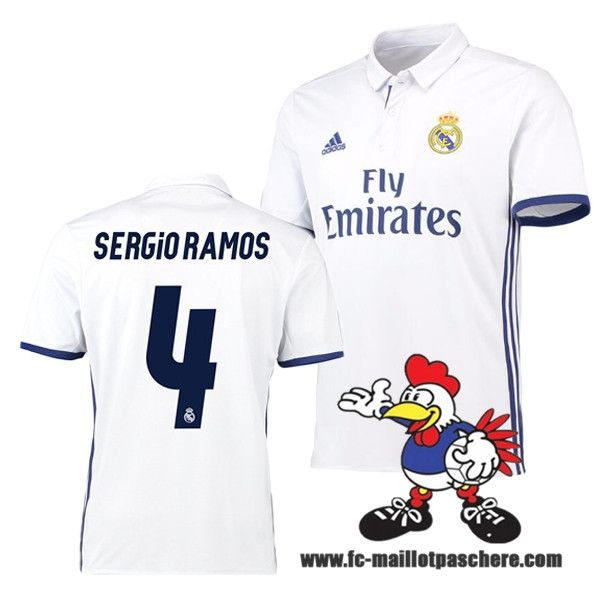 Nouveau Maillot Foot Real Madrid (SERGIO RAMOS 4) Domicile 2016 2017 Personnalisable