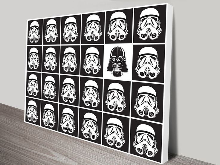 Star Wars - Black and White Helmets Canvas Print