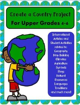 A BEST SELLER! Perfect for Intermediate Grades 4-6! Newly updated and improved with informational articles, vocabulary words with posters, and engaging student activities related to all the different themes such as culture, flag facts, climates, housing, natural resources, agriculture, transportation (and more) of this creative hands-on project!