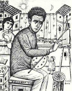 Λεπτομέρεια από την οικογένεια του ζωγράφου, με τη Δεσπούλα να συμμετέχει και να πρωταγωνιστεί στο έργο του Φωτίου (περ. 1930). Του αειμνήστου ΦΩΤΙΟΥ ΚΟΝΤΟΓΛΟΥ † 1965 …Χρυσά χέρια και πολλά χαρίσμα...