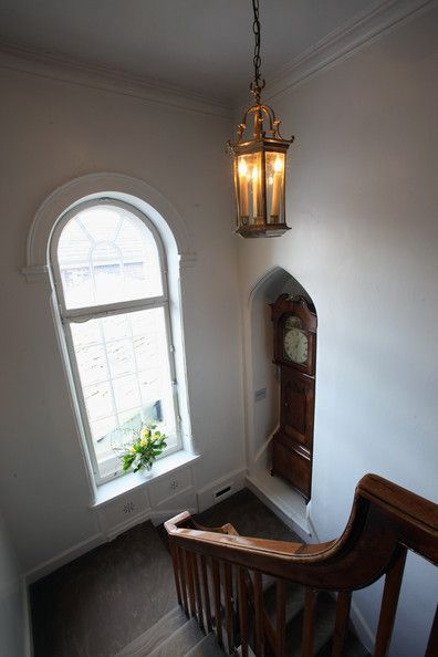 The elegant stairs in the Bronte Parsonage Museum on February 8, 2012 in Haworth, England.