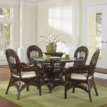 St Lucia Indoor Round Dining Set with 4 Side Chairs Fabric: Beach House