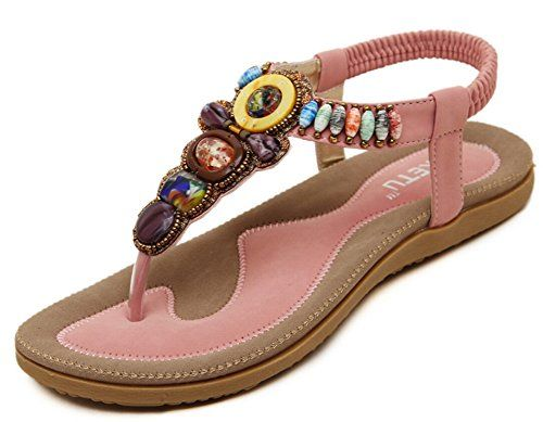 4ed08e10925 JiYe Fashion Shoes Womens Gemstone Casual Sandals Summer ShoesFlat  SandalsPink11USWomen    Find out more about the great product at the image  link.