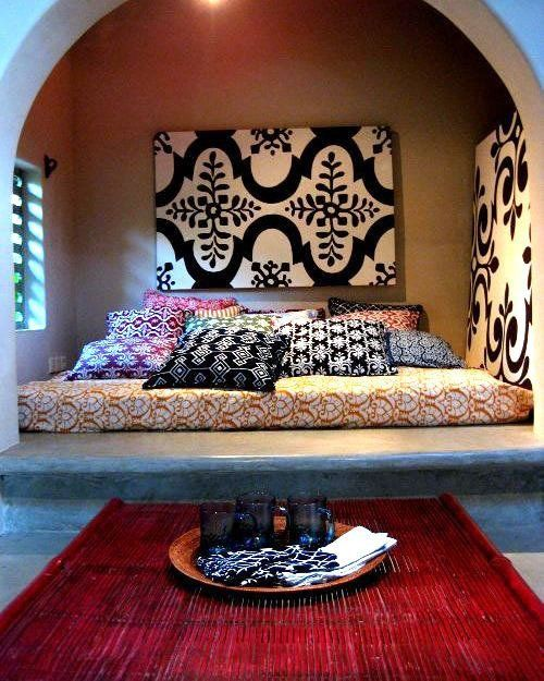Katherine Rally's Beautiful Balinese Textiles in small and large on walls. Wonderful variety.