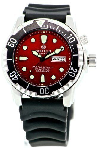 Deep Blue Unisex PTDVRRED Dive Watch Deep Blue. $199.00. Quartz movement day date. Water-resistant to 1000 M (3280 feet). Sapphire Crystal. Case Diameter: 45 mm. SuperLuninova Glow In The Dark Technology