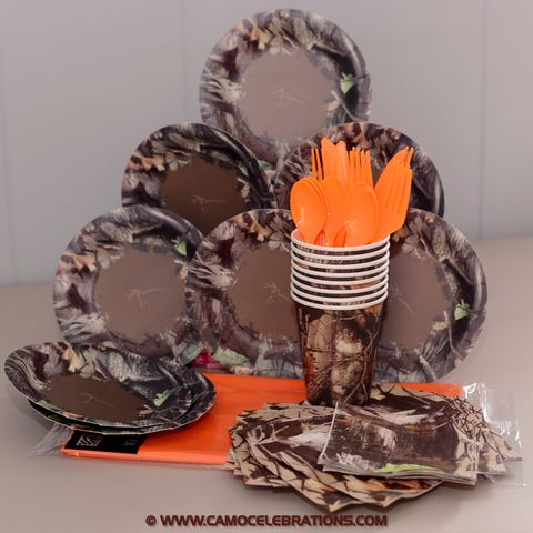 Next Camo party plates, cups, napkins, a table cover and orange cutlery enouch for 8 party guests.