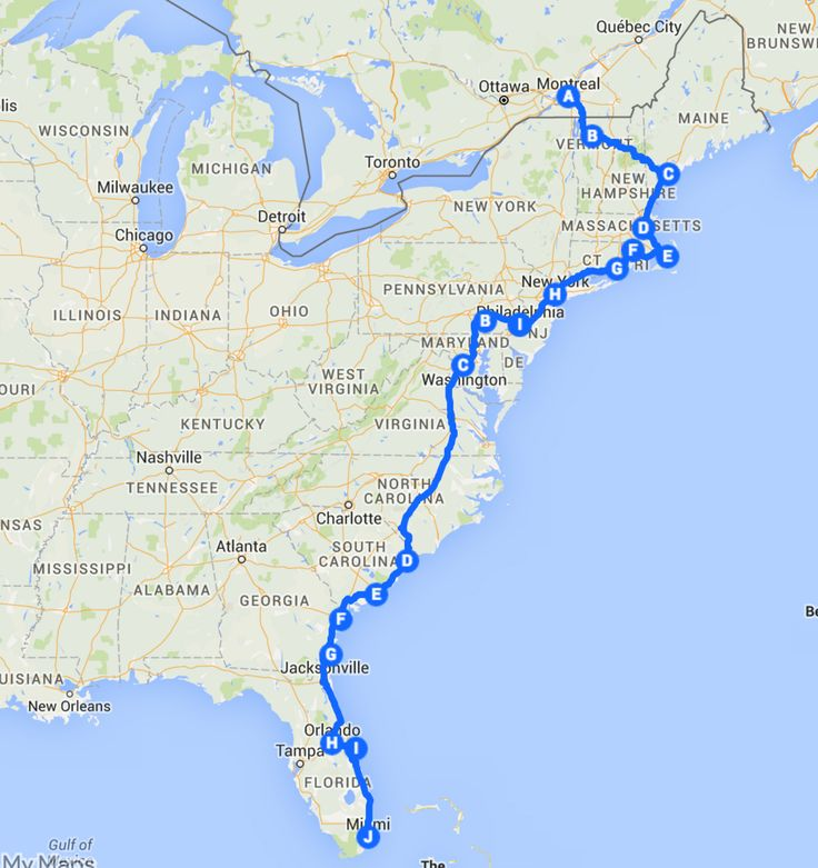 East Coast Road Trip Itinerary, East Coast Road Trip Map
