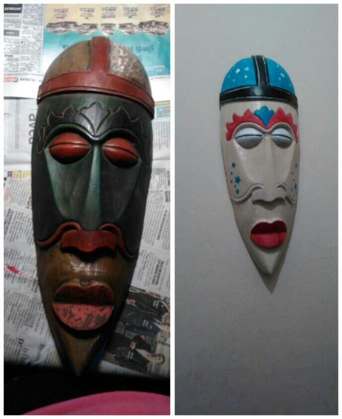 Before and after. The old mask turned out to be a very beautiful mask. Acrylic painting.