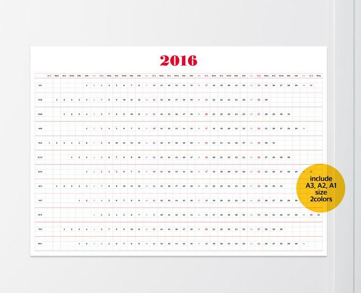 2016 muur kalender A1 A2 A3 grootte / afdrukbare door SecondStep