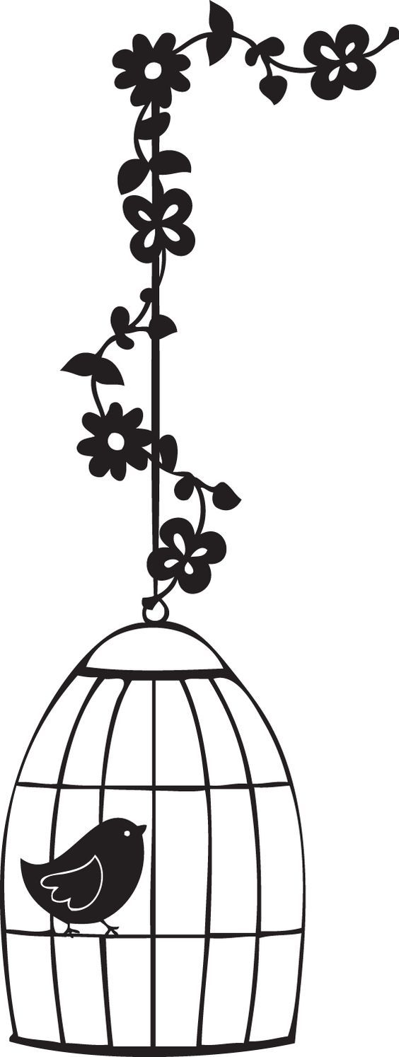Silueta jaula de pájaro con flores.  Silhouette.: