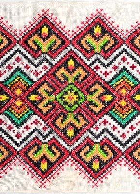 Embroidered good by cross-stitch pattern. Ukrainian ethnic ornament Stock Photo - 11487935