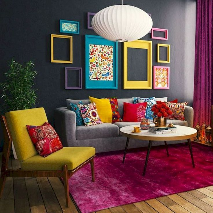 Nice 80 Stunning Colorful Living Room Decor Ideas And Remodel For Summer Project Retro Living Rooms Colourful Living Room Decor Colorful Eclectic Living Room