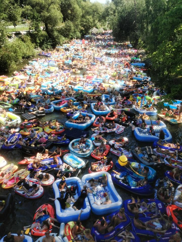 Beer floating in Helsinki, Finland. It has occurred since 1997 with the most recent trip having over 5000 rafters. It's announced every year by social media.