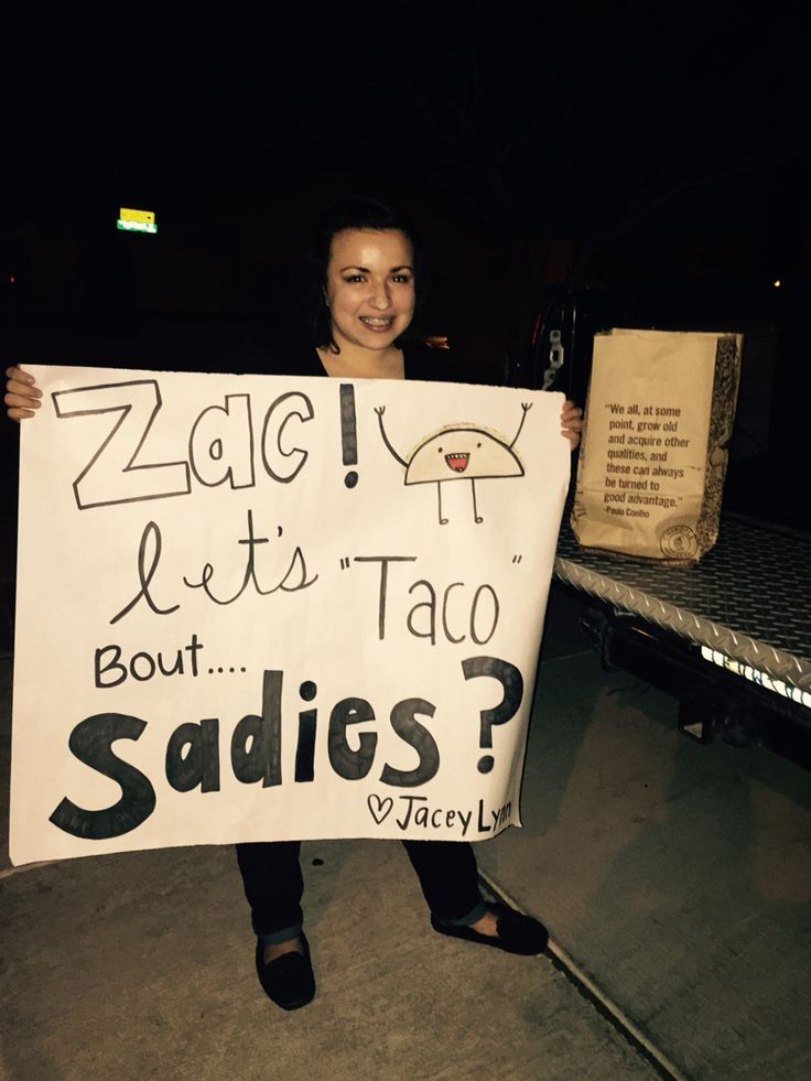 Sadies 2015 taco food Sadies ask babe boyfriend prom 2015