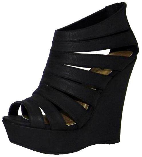 Strappy black platforms.Shoes Wedges, Black N White, Fashion Shoes, Black Platform, Black Shoes, Gladiators Platform, Black Heels, Shorts Dresses, Black Wedges
