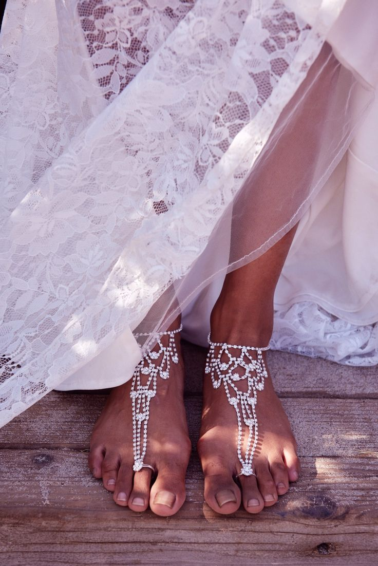 Ditch the heels for a barefoot bridal look. Shop foot jewelry at David's Bridal