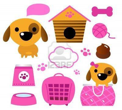 Cartoon pink set for baby dog Illustration