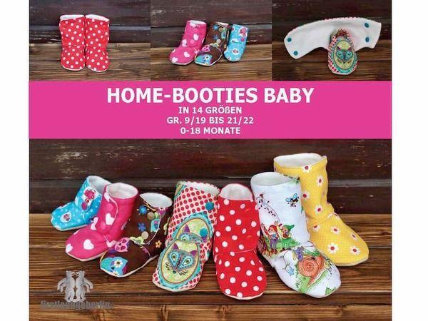 Home-Booties BABY *** Hausschuhe in 14 Größen E-Book Nähanleitung 0 bis 18 Monate Nähanleitung & Schnittmuster von firstloungeberlin
