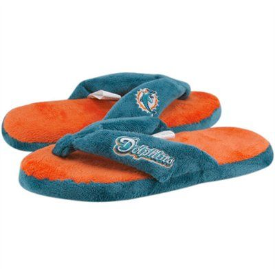 Team Miami Dolphins Aqua and Orange Slippers
