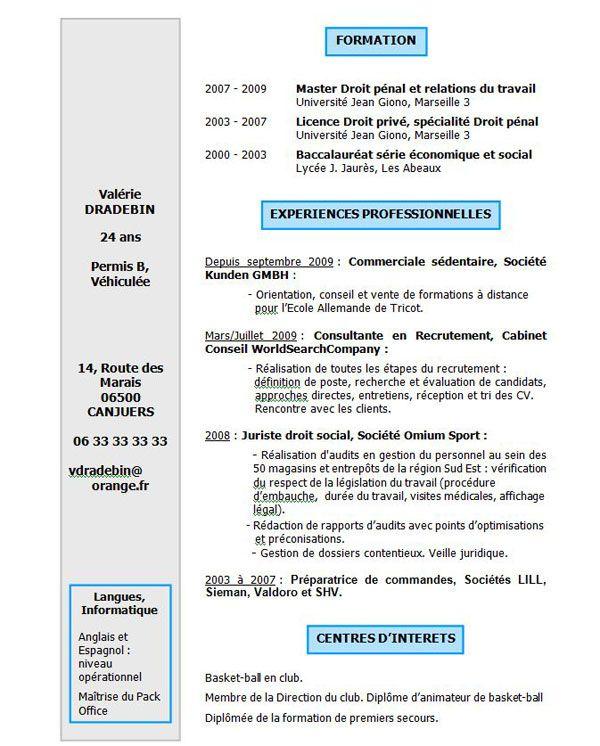 Exemple1 Cv Jpg 600 746 Telecharger Modele Cv Cv Gratuit Modele Cv