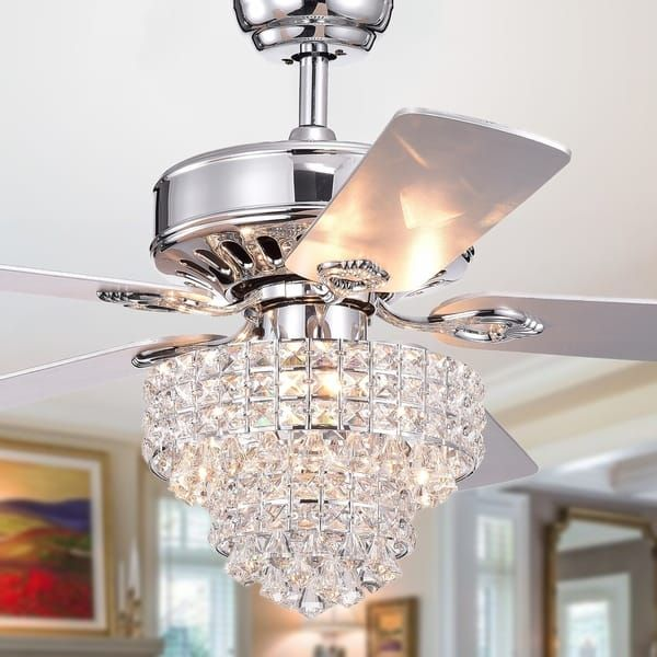 4a0624e448b09 Bryanya 5-Blade 52-Inch Chrome Lighted Ceiling Fans with Crystal ...