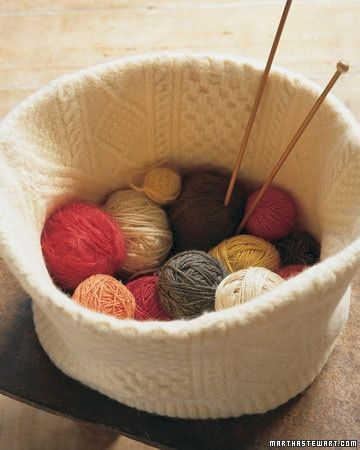Felted knitting basket made from an old sweater via Martha Stewart