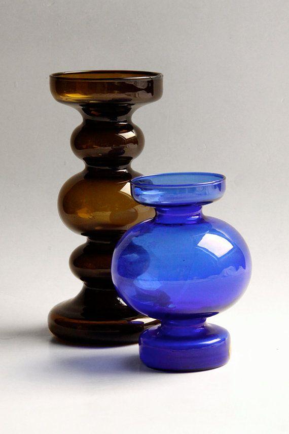 Vintage Duitse blauwe Pompadour stijl glazen vaas / door 1001vintage