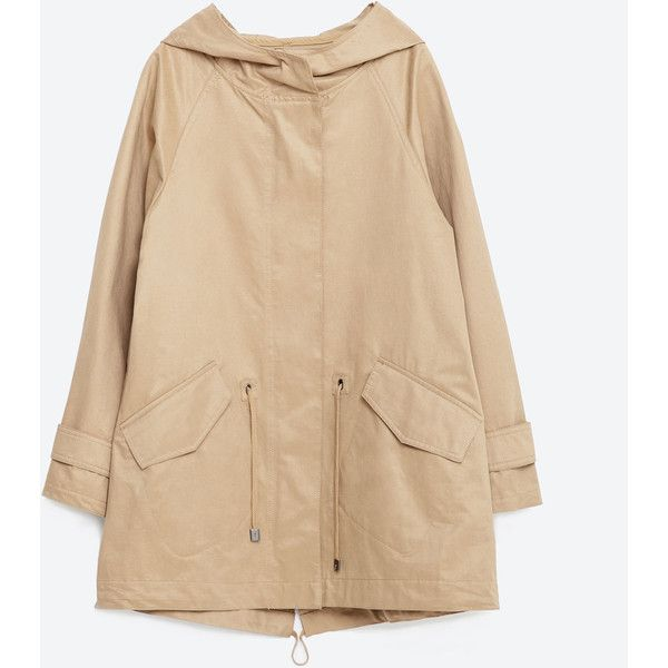 Zara Water Repellent A-Line Parka (2.878.890 VND) ❤ liked on Polyvore featuring outerwear, coats, camel, beige coat, camel coat, a-line coat, zara parka and zara coat