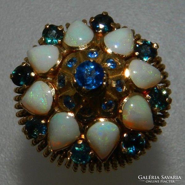 Vintage gyonyoru 14k opal es zafir koves gyuru