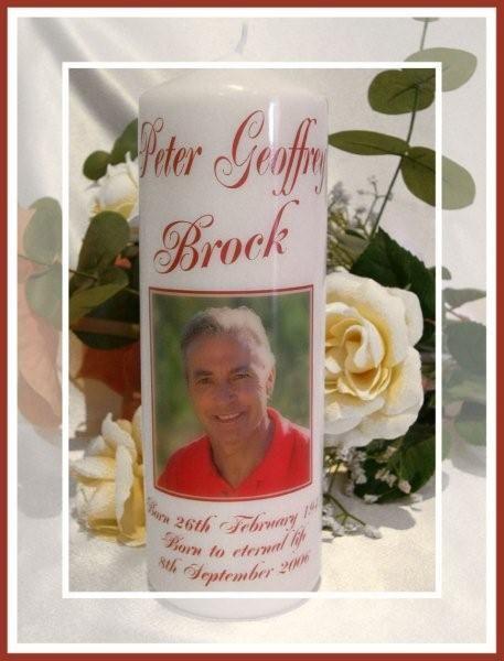 Peter Brock - www.reneescandles.com  Personalised Memorial candle - By Real Creative / Renee's Candles