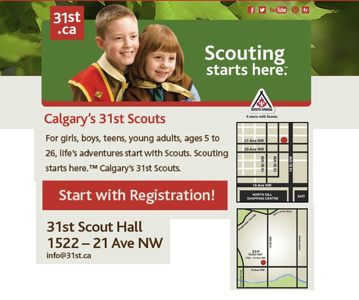 31st Scouts Calgary 2013/14 Youth Registration, 7 - 9 pm, Sept 3, 4, 5 @ 31st Scout Hall, 1522 - 21 Ave NW. Cash or Cheque. Co-Ed. 5 Age appropriate Sections for girls, boys, teens, young women & men. • Beaver Scouts (5-7) $168 • Cub Scouts (8-10) $168 • Scouts (11-14) $168 • Venturer Scouts (14-17) $168 • 3rd & subsequent family members, Beavers through Venturers: $88 ea. • Rover Scouts (18 -26) FREE  • Adult volunteer Leaders FREE •  Fees qualify for Canada Children's Fitness Tax Credit