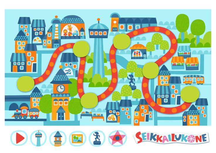 Seikkailukone | tulostettava | paperi | kartta | peli | tehtävä | kaupunki | lapset | game | map | city | children | kids | free printable | Pikku Kakkonen