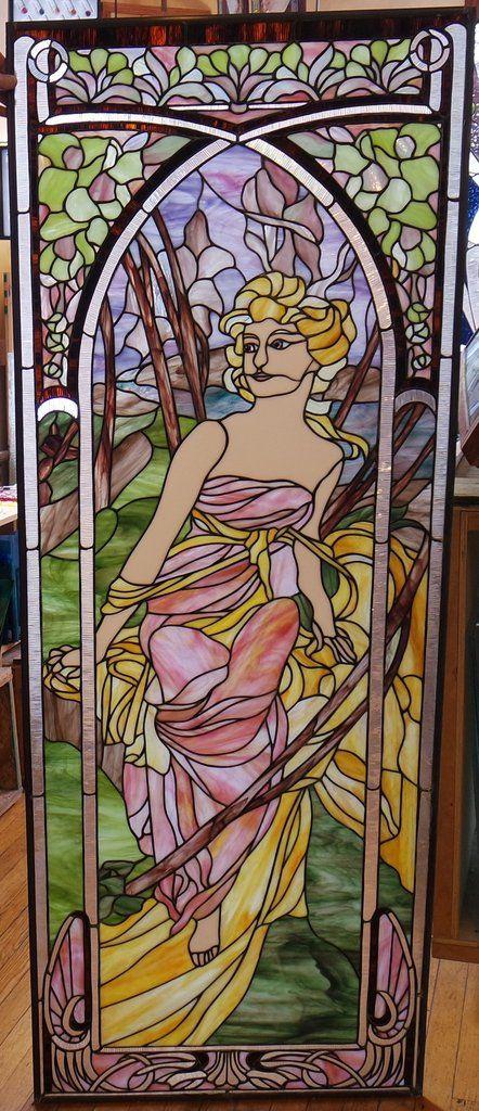 "Alphonse Mucha Morning Awakening 26 x 68.5"" Stained Glass Pattern."