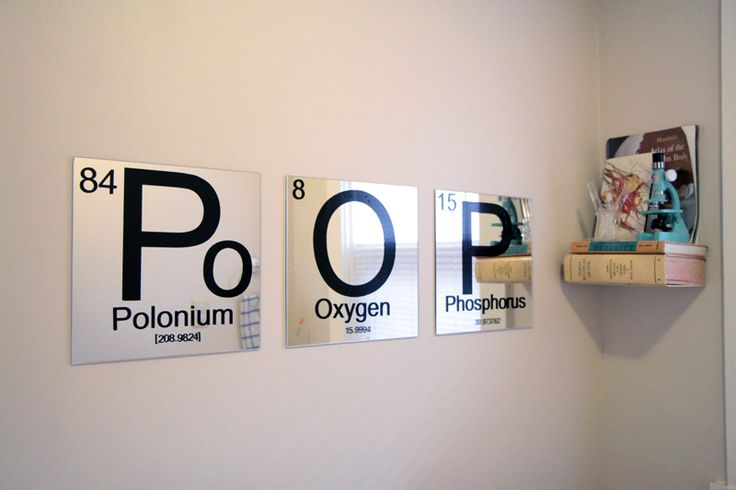 DIY Periodic Table Mirrors: a little bathroom humor from The Nerd Nest