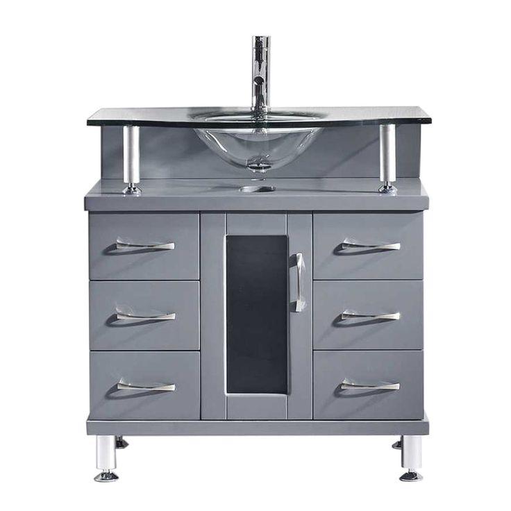 """Virtu USA Vincente 32"""" Single Round Sink Grey Top Vanity in Grey"""