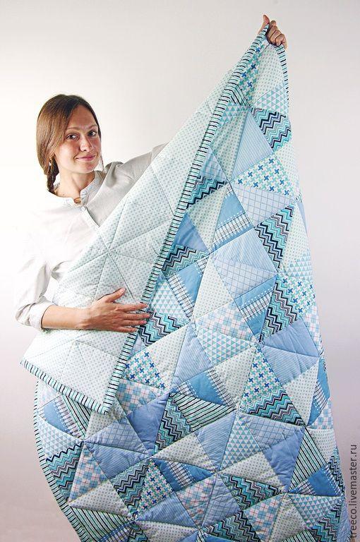 Купить Голубое детское одеяло - голубой, лоскутное одеяло, лоскутное покрывало, лоскутный плед