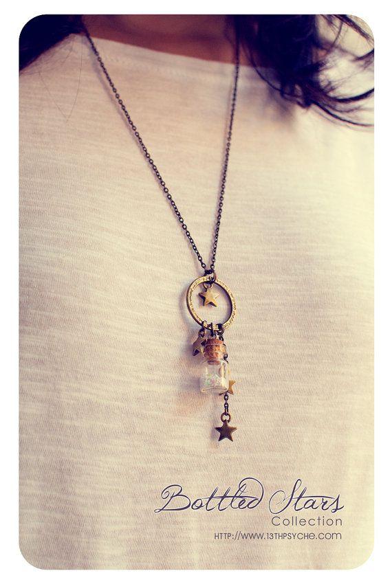 Stars Tiny Bottle necklace. CUSTOM Glitter STARS by 13thPsyche