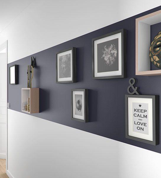 Galerie personnelle  Exposer les objets que l'on aime façon musée personnel : cadres, trophées et autres objets sont accrochés comme un seul et même tableau sur une peinture sombre pour mieux les sublimer. http://www.castorama.fr/store/pages/idees-decoration-facile-donner-du-cachet.html