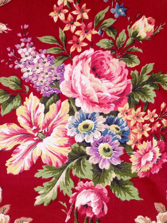 English vintage retro cotton fabric. Sanderson. So nice floral pattern. Great condition.