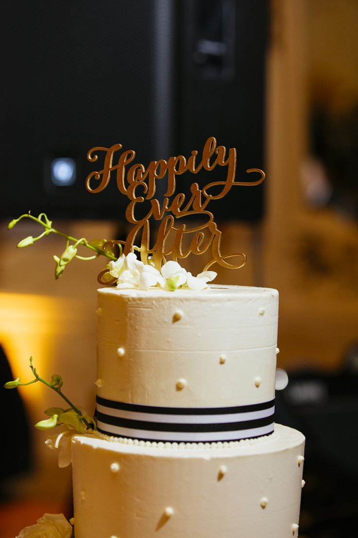 Happily ever after wedding cake topper (Iluminada Photography)