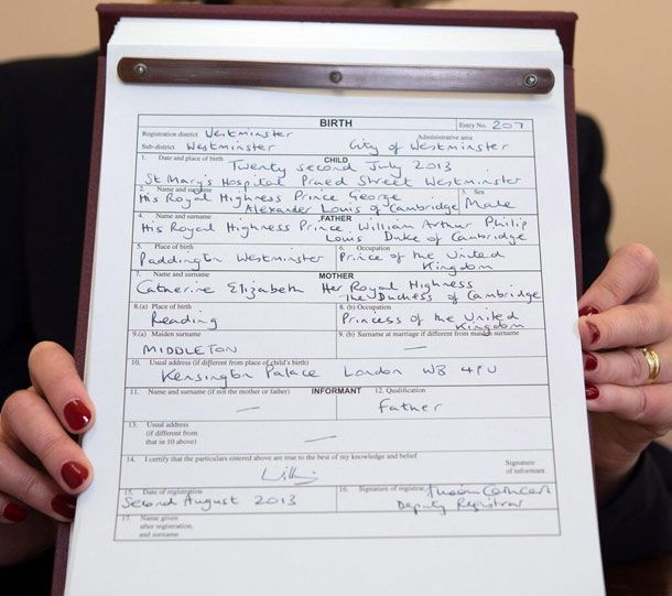Kate Middleton listed as a Princess on Prince George's birth certificate - her status is explained here..... hellomagazine.com
