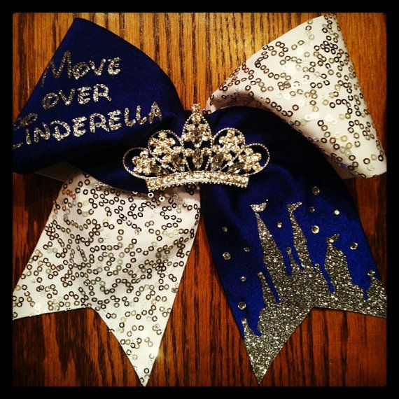 Cinderella inspired Cheer Bow! Available in Royal Blue, Pink, Red, Black or White. Tiara is anchored and will not fall off! Great for your little