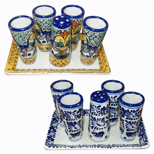 Tequila anyone? Go all Mexican with these tequila glass sets in Talavera, which also include a salt shaker!