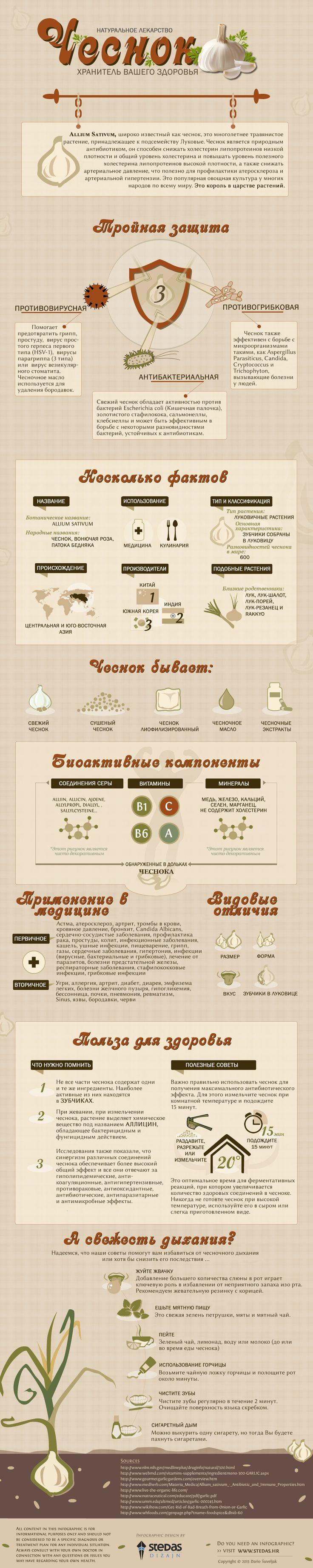 В наступивший сезон простуд хотим поделиться с вами вот такой полезной инфографикой в пользу чеснока от Lifehacker. Обязательно включите этот замечательный овощ в свой рацион - и будьте здоровы!